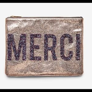 Metallic glitter clutch